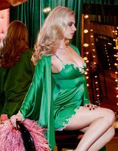 Elegant green Agent Provocateur slip and kimono robe