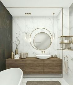 Perfect wooden bathroom mirror ideas only in dandj home design Modern Bathroom Design, Bathroom Interior Design, Decor Interior Design, Bathroom Designs, Minimal Bathroom, Modern Design, Black Marble Bathroom, Wooden Bathroom, Marble Bathrooms