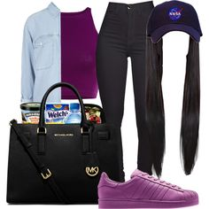• Grape Juice • by outofchange on Polyvore featuring polyvore, fashion, style, Topshop, MICHAEL Michael Kors and adidas