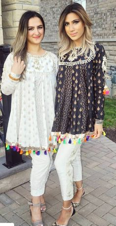 Image may contain: 2 people, people standing and shoes Pakistani Fashion Casual, Pakistani Dresses Casual, Pakistani Dress Design, Indian Dresses, Indian Fashion, Stylish Dresses For Girls, Stylish Dress Designs, Designs For Dresses, Ethnic Outfits