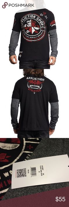 "Affliction Flash Mob 2Fer Shirt Distressed Neck, Sleeves and Hem Top with: • Red Jersey Neck Taping • Red Coverstitch up Side Seam • 100% Cotton 2Fer With Tetris Mocktwist Thermal Sleeves. From armpit to armpit 19.5"", from shoulder to hem 29"". Affliction Shirts Sweatshirts & Hoodies"