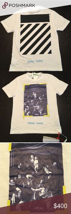 Off-White Virgil Abloh Caravaggio Jersey Tee 100% authentic. Brand new with tags. Trades accepted Off-White Shirts Tees - Short Sleeve