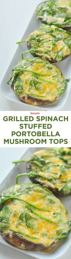 Grilled Spinach Stuffed Portobella Mushroom Tops | These finger foods can be made in 3 quick and easy steps.