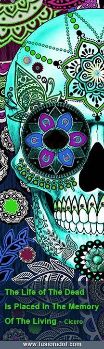 "Day of the Dead Artwork ""Sugar Skull Sombrero Night"" by artist Christopher Beikmann. Prints and gifts available from www.fusionidol.com #diadelosmuertos"