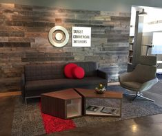 #Stikwood (peel and stick solid wood planking) in Atmosphere Commercial Interiors' office furniture showroom, Madison, WI