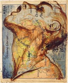 Paintings on maps by Fernando Vicente
