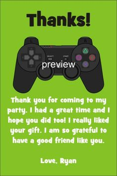 Playstation xbox video game invitation personalized party invites this thank you card coordinates with our video game birthday party invitation its easy to customize this card with stopboris Gallery