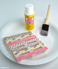 Washi Tape Mini Pallet Coaster with Mod Podge