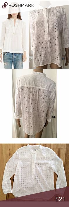 "EUC Madewell Floral Eyelet Boho Blouse In really good pre-loved condition blouse from Madewell in size large. Has long sleeves wok button closure, partial buttons up on the top with eyelet details. No marks or stains as far as I can tell. Measure about 25"" length, 19"" pit to pit, 24"" sleeves. ❌Model pic is similar style. Actual blouse are the last three pics above.❌No trades or modeling. Open to reasonable offers. Thank you‼️ Madewell Tops Blouses"