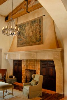 Massive travertine fireplace...I like the ambiance...except for the front tiles ( tacky)