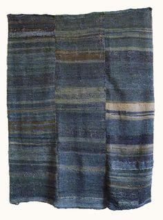 A Beautifully Colored Sakiori Sleeping Mat: Indigo Dyed Rag Weaving