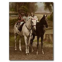 Stunning Vintage Children on Horses Postcard