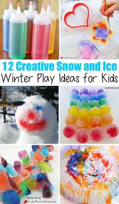 12 creative snow and ice winter play ideas for kids! SO many fun way for kids to play outside (bundled up of course!) and run off that energy! - Winter Activities for Kids Snow Activities, Winter Activities For Kids, Winter Crafts For Kids, Winter Games, Kids Crafts, Snow Crafts, Winter Diy, Winter Snow, Snow Theme