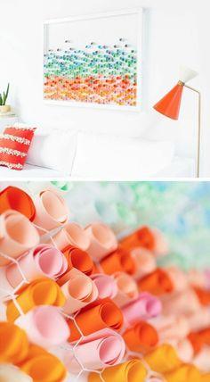 wanddeko selber machen wohnideen selber machen bild mit bunten papieren und weisem rahmen