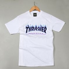 Thrasher Magazine Blue Flame Logo White   Black T-Shirt from JAKKOUTTHEBXX.  Saved to 8ad1fb3b4cb6
