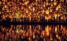 Release a candle at Yi Peng Festival in Thailand