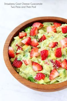 Strawberry Goat Cheese Guacamole Recipe on twopeasandtheirpod.com. Love this creamy and fruity guacamole!