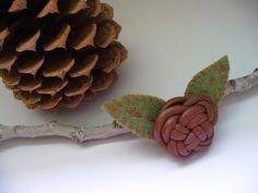 Woodland Brooch Celtic Leather Knot by kzannoart on Etsy, $14.00
