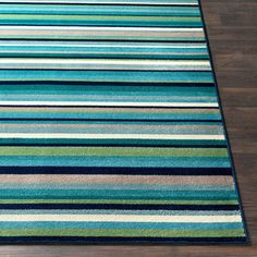 Shop Godric Teal Striped Area Rug - x - Overstock - 22403132 Teal Area Rug, Area Rugs, Outdoor Rugs, Outdoor Blanket, Teal Furniture, Screened In Porch, Striped Rug, Cool Tones, Accent Rugs