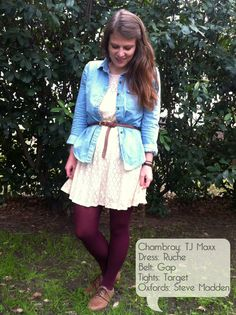 kristina in retroworter: lace dress, chambray, burgundy tights, oxfords