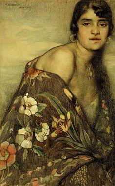 """The Creole Shawl"" - Saturnino Herrán (Mexican, mixed media, 1915 {fine art female portrait painting South American Art, Mexico Art, Mexican Artists, Art Database, Portraits, Japanese Prints, Figurative Art, Art History, Illustration Art"