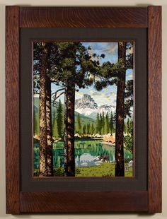 Tranquil Summer Reflection - The third in the Seasonal Landscape series, with Rocky Mountains as the backdrop. - Arts & Crafts - Craftsman - Bungalow - Keith Rust Illustration Framed Giclée Prints Tranquil-Summer-Reflection_Java-Xsml.png