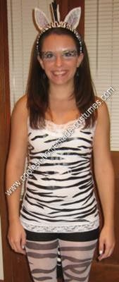 Homemade Zebra Adult Costume Idea: As an animal lover, I decided on a Homemade Zebra Adult Costume Idea for Halloween. This is a really cheap costume idea if you are tight on cash like me!