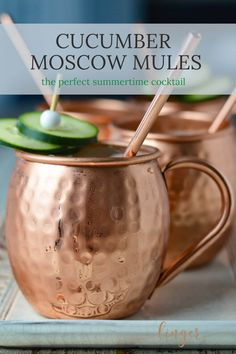 A classic Moscow Mule recipe made of course with Vodka and has a twist of cucumber with it. Ginger beer and fresh limes make this one of the best refreshing cocktails for any happy hour. An easy throw together and served in the traditional copper mugs. Cucumber Cocktail, Cucumber Vodka, Happy Hour Food, Happy Hour Drinks, Top Recipes, Drink Recipes, Brunch Recipes, Party Recipes, La Perla Lingerie