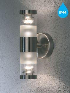 Konstsmide 'Bolzano' IP44 2 Light Outdoor Up & Down Wall Light, Stainless Steel With Clear & Frosted Glass Diffuser - 7595-000 None