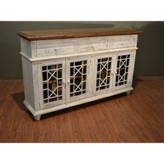 Rustic Solid Wood Distressed White Tv Console China Cabinet Bookcase... ($1,125) ❤ liked on Polyvore featuring home, furniture, storage & shelves, sideboards, buffets & china cabinets, dining room furniture, grey, home & living, white media consoles and white sideboards