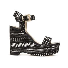 MELODY Lace Wedge Sandals (€19) ❤ liked on Polyvore featuring shoes, sandals, wedges shoes, wedge sandals, lace wedge sandals, wedge heel sandals and wedge heel shoes