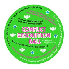 CONFLICT RESOLUTION BALL Product Number : 2116 Teach students about conflict resolution with discussion prompts Great for students of all ages! Latex free, 8 inches, arrives deflated