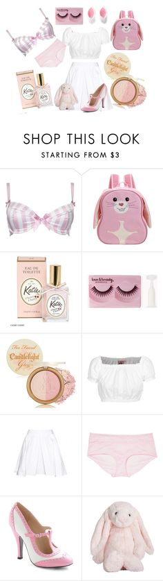 """""""babies & bunnies"""" by petitepasserine ❤ liked on Polyvore featuring mode, Alexis Smith, Apple Park, Forever 21, Too Faced Cosmetics, GERMAN PRINCESS, Carven, Monki, Jellycat et Charlotte Russe"""