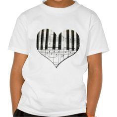 I Love Piano or Organ Music Heart Keyboard T Shirt, Hoodie Sweatshirt