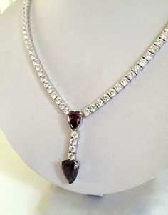 Vintage Sterling Silver Purple Sapphire and Diamond Estate Jewelry Necklace by WOWTHATSBEAUTIFUL