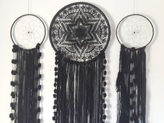 dream catcher/ wall hanging/ dreamcatcher/ big dreamcatcher/ large dreamcatcher/ dreamcatcher black/ hippie decor/ dream catchers/ dreams by naimacrochethandmade on Etsy