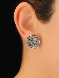 Buy Silver Pair of Classic Earrings 92.5% Sterling Jewelry Anatomy Stone Studded Online at Jaypore.com