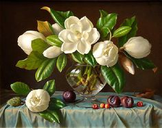 magnolias in vase