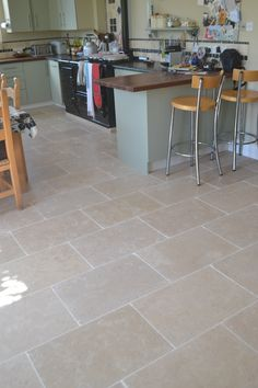 Dijon laid in a brick bond pattern Brick Bonds, Limestone Flooring, Kitchen Flooring, Ground Floor, Kitchen Remodel, Tile Floor, Tiles, Granny Flat, Cottage Ideas
