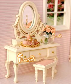 1:12 Dollhouse furniture DOLLHOUSE miniature DIY simulation model dressing table + stool set of 2