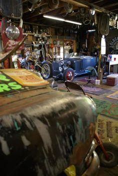 vintage wood floored garage/shop