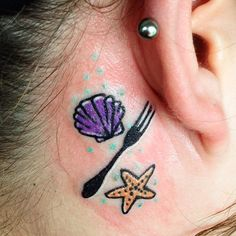 It's a dinglehopper!!!! little mermaid themed behind the ear piece I did today at @newaddictiontattoo come in and see me!!!