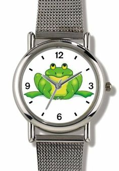 Green Frog Cartoon - JP Animal - WATCHBUDDY® ELITE Chrome-Plated Metal Alloy Watch with Metal Mesh Strap-Size-Small ( Children's Size - Boy's Size & Girl's Size ) WatchBuddy. $79.95. Save 37%!