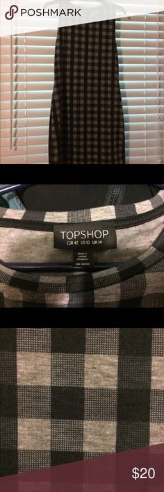 Topshop body con dress Black and gray dress from Topshop. Worn once.  Excellent condition. Topshop Dresses Mini