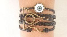 Combined Bracelet / Evil Eye Bracelet, Karma Bracelet, Infinity Wish Bracelet, Deathly Hallows Bracelet, Black Braid