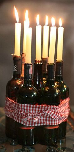 Super centerpiece idea for a for a wine tasting party!