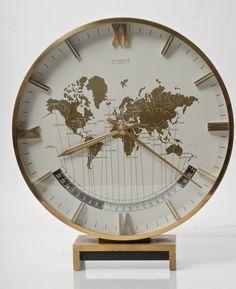 MID-CENTURY GERMAN KIENZLE WORLD CLOCK IN BRASS