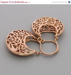 Christmas In July SALE Rose Gold Lace Earrings  by toolisjewelry, $108.00