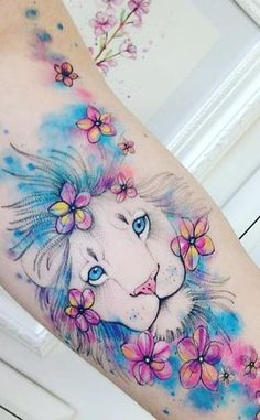 Lion tattoos for women - top storyfeed - animal tattoo - Lion Tattoos für Frauen – Topstoryfeed – Tier tattoo – # Lion tattoos for women – top storyfeed – animal tattoo – # - Girly Tattoos, Mama Tattoos, Leo Tattoos, Flower Tattoos, Body Art Tattoos, Disney Tattoos, Arm Tattoos Color, Tatoos, Colorful Tattoos