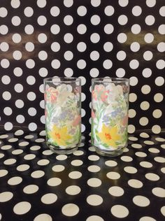 """Primavera Dia~Set of 2~Glass Tumblers~M. Dia~Flowers~Pastel Garden~5.5"""" Tall by RubyJeanRummage on Etsy"""